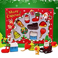 1ボックス/設定Kawaiiかわいいクリスマスエルク帽子ソックスギフトサンタクロース形状Erasersの子学生賞
