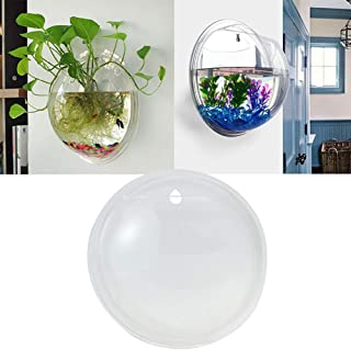 Creative Wall Mounted Clear Acrylic Round Fish Tank Flower Pot Vase Home Decor, Transparent, Multifunction, Wall Decor