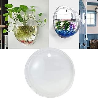 Smallwoodicute Ceramic/Plastic Plant Flower Pot,Creative Wall Mounted Clear Acrylic Round Fish Tank Flower Pot Vase Home Decor - Transparent 15cm
