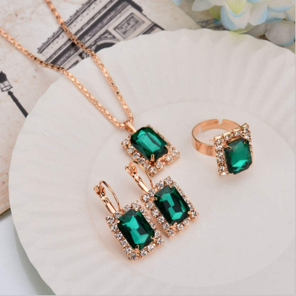 Xeminor Jewelry Set Imitation Crystal Crystal Necklace Earrings Ring Set Vintage Pendant Jewelry Three-Piece Set Gifts For Women,Green Cost-effective and Durable
