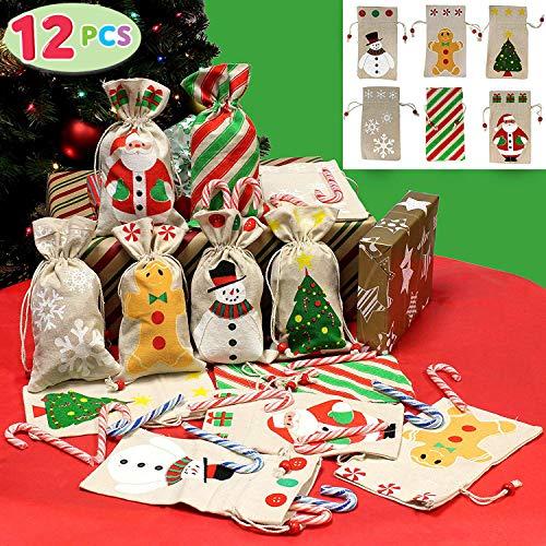 JOYIN 12 Pack of Christmas Canvas Holiday Gift Drawstring Bags Random Assortment for Christmas Party Favors Treats Santa Sack Sticking Bags Christmas Draw String Goodie Bags Party Favors