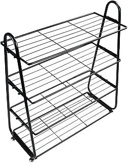 TimmyHouse Shelf 4 Tier Utility Shoe Organizer Rack Shoe Iron Mesh Stainless Storage