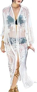 Guiran Women's Long Lace Kimono Cardigan Transparent Open Front Blouse Sheer Shirt Loose Cover Up