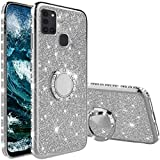 Vansdon Cover Compatibile con Samsung Galaxy A21s, Copertura Protettiva con Diamante Glitterato con Anello a 360 Gradi, Silicone Morbido per paraurti in TPU - Argento