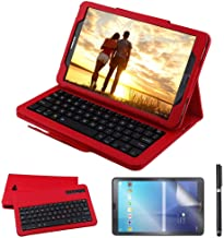 Galaxy Tab A 10.1 2016 Keyboard Case with Screen Protector & Stylus, REAL-EAGLE Slim Separable Fit PU Leather Case Cover Wireless Keyboard for Tab A 10.1 Inch 2016 SM-T580 T580N T585 T585N,Red