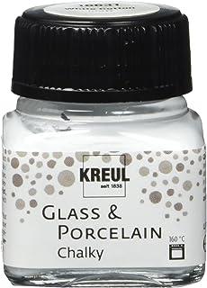 Kreul 16631 – Glass & Porcelain Chalky White Cotton Verre 20 ml – Peinture douce – Peinture mate pour verre et porcelaine ...