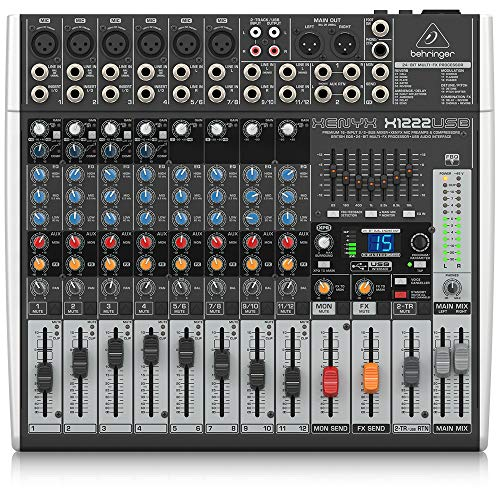 Behringer Xenyx X1204USB Premium 12-Input 2/2-Bus Mixer with USB/Audio Interface,Black