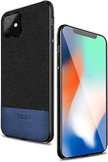 MOFI iphone 11 Case, Blue Leather Black Fabric