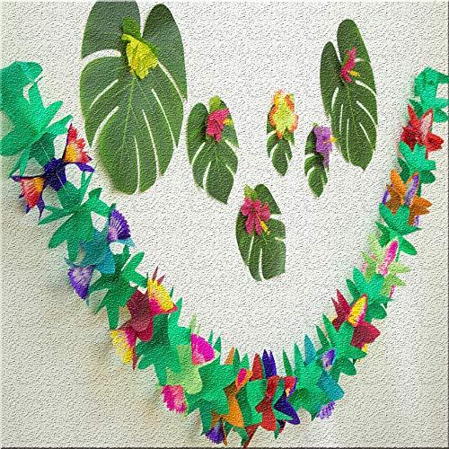 Energeti Festival hawaiano 3 m colorido tejido flor cumpleaños papel flor guirnalda papel tropical guirnalda, diseño floral, luo decoración de fiesta verano decoración playa selva