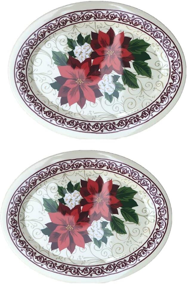 Set of Two High quality Large Denver Mall Oval Design Platter Melamine Holiday Christmas