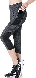 Picotee Women's Yoga Pants High Waist Workout Capri Leggings Sports Running Active Tights w Side Pocket