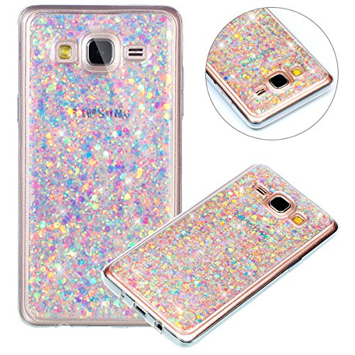 Surakey Custodia Samsung Galaxy Grand Neo Plus, Cover in Silicone Morbido con Brillantini,Gomma Soft Protettiva Skin Paillettes Bling Ultrasottile Cover per Galaxy Grand Neo Plus i9060,Viola Chiaro
