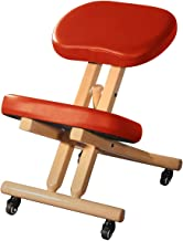 Master Massage Comfort Wooden Kneeling Chair Posture Thick Cushion Seat Office and Home Rolling Adjustable Cinnamon Color