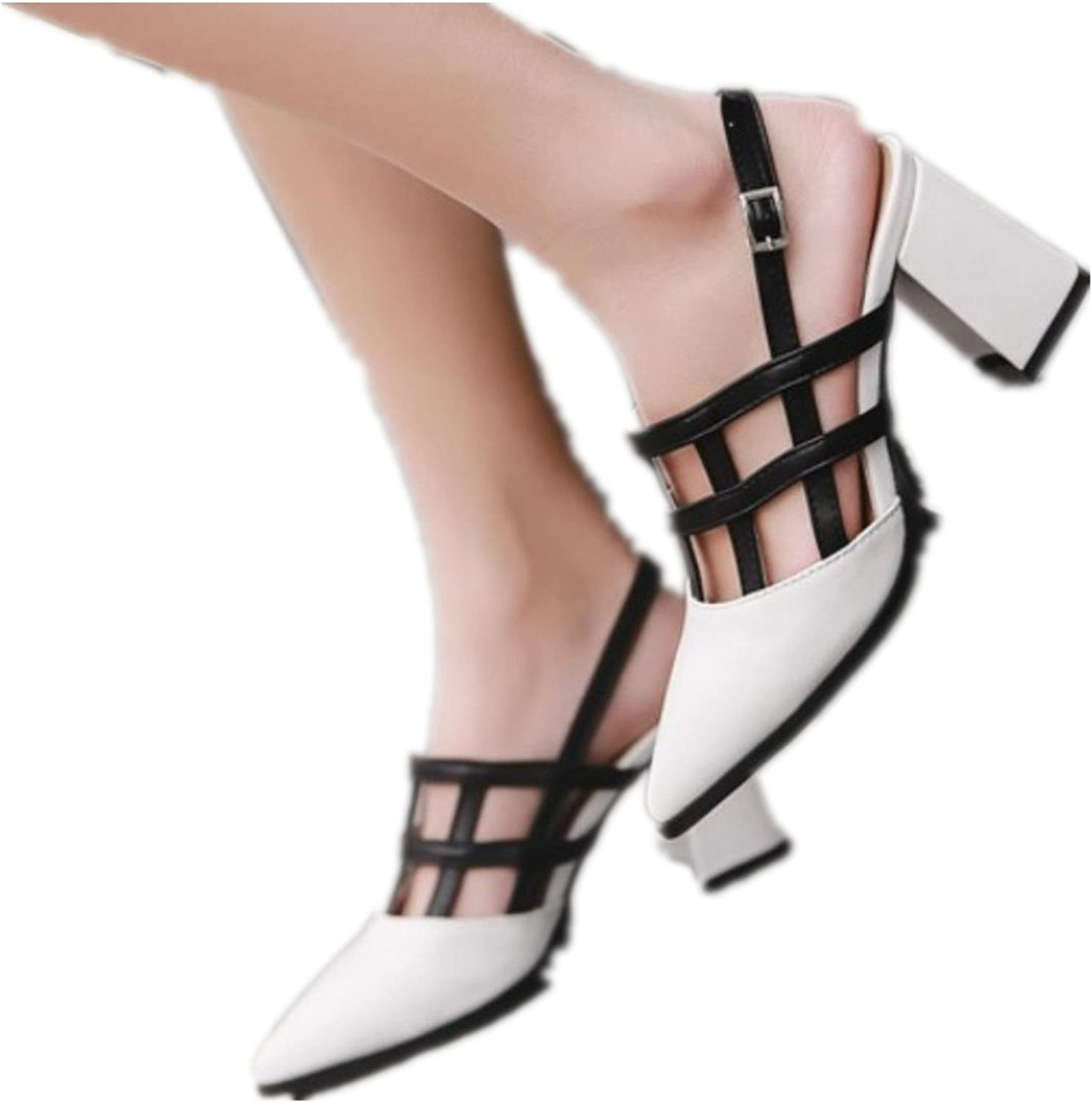 Gladiator Sandals Summer shoes Women Mixed color Thick Heel Pumps