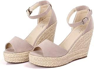 Women Casual Platform Espadrilles Sandals Buckle Strap Fish Mouth Breathable Wedges High Heels Sandal