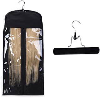 Portable Hair Extensions Carrier Holder Non-woven Dust-proof Suitcase Storage Bag with Wooden Hanger for Human Hair (Black)