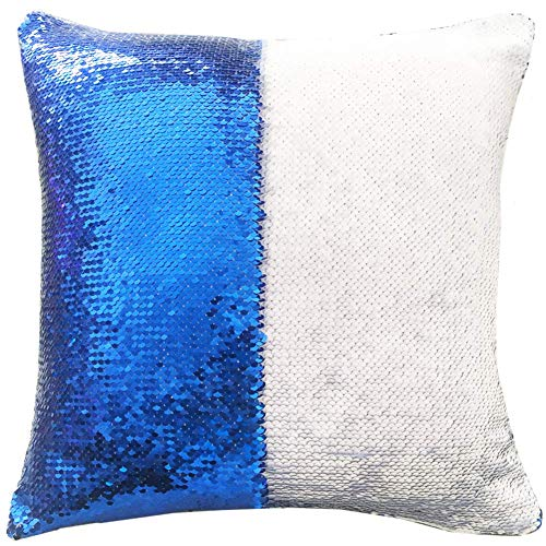 16'x16' with Insert Mermaid Flip Sequin Pillow That Changes Color Reversible Pillow with Sequins Perfect Color Changing Throw Pillow Square for Home Decor Blue White