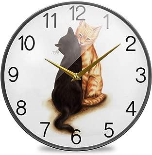 Chovy 掛け時計 サイレント 連続秒針 壁掛け時計 インテリア 置き時計 北欧 おしゃれ かわいい ねこ 猫柄 かわいい ホワイト 白 アニマル 部屋装飾 子供部屋 プレゼント
