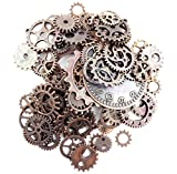 Fireboomoon 100 Gram (Approx 80pcs) Assorted Antique Steampunk Gears Charms Pendant Clock Watch Wheel Gear for Crafting, Jewelry Making Accessory (Copper)