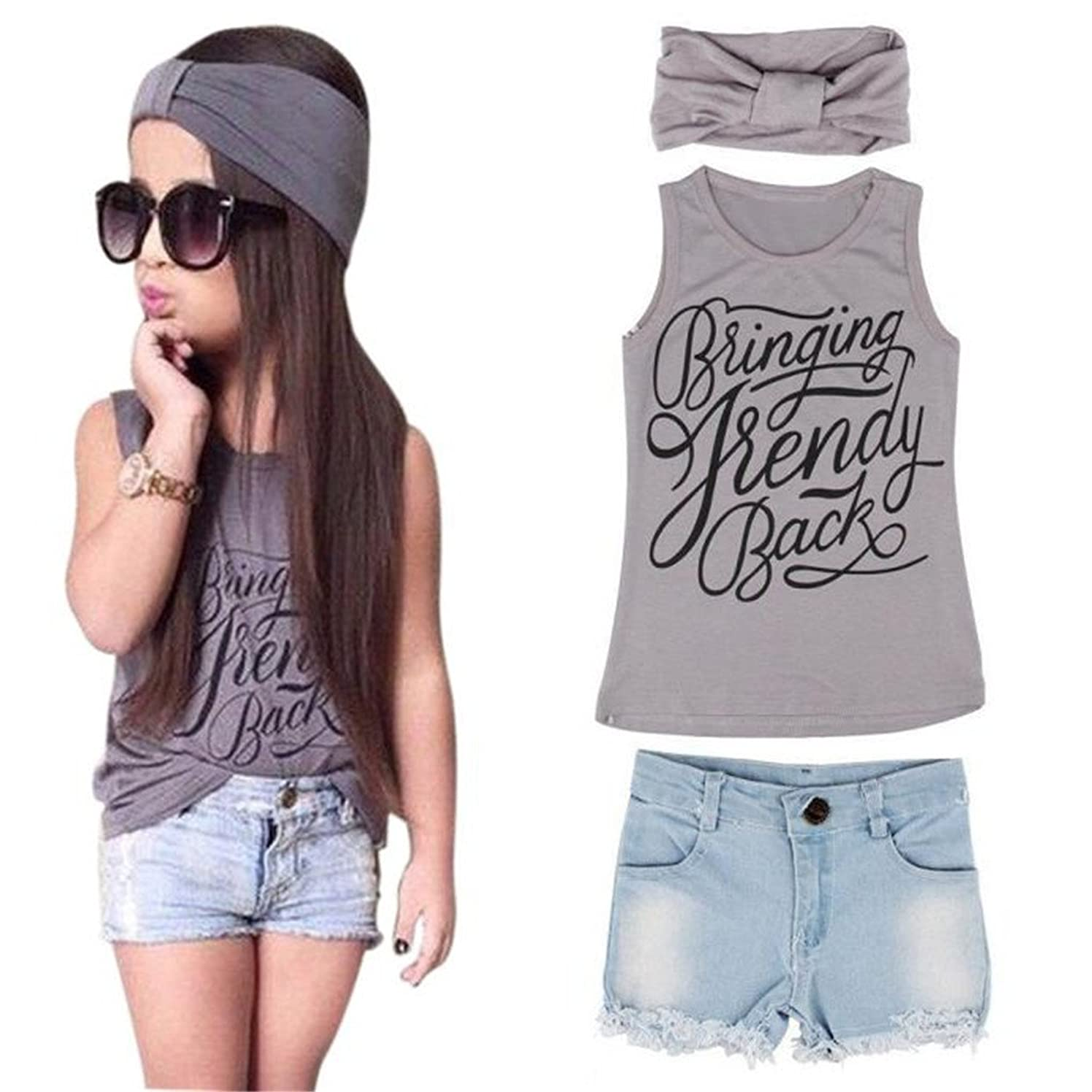 haoricu Girls Clothes, 2017 Summer 1Set Kid Baby Girls Vest Tops+ Jeans Pants Shorts+Hairband Suit Outfit (Size:130, Gray)