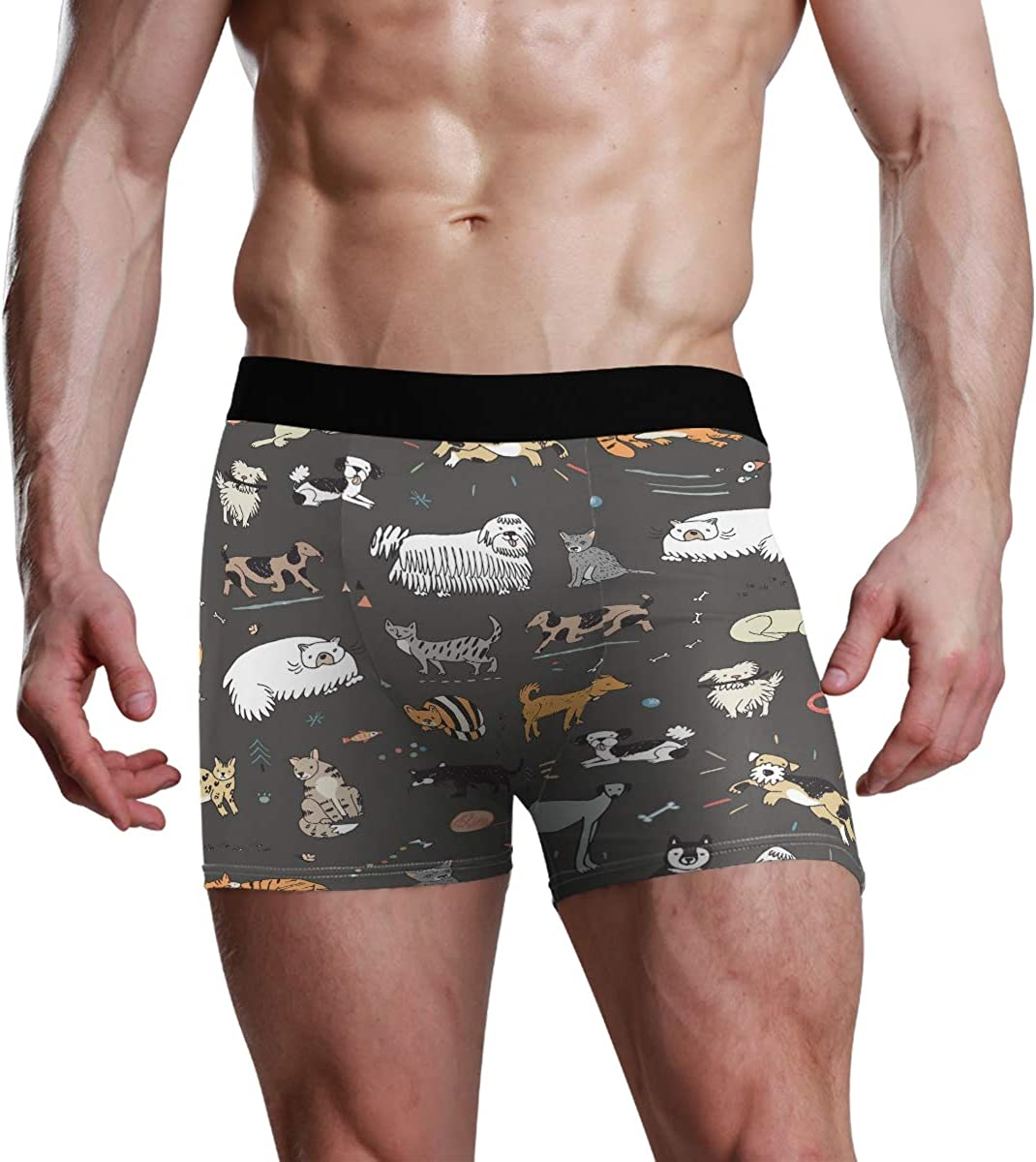 Mens Underwear Boxers Different Doodle Cats and Dogs Seamless Pattern ComfortSoft Boxer Briefs Breathable Bikini