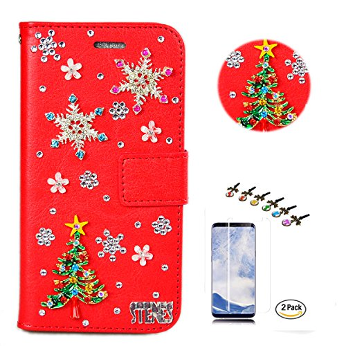 STENES LG K30 Case - Stylish - 3D Handmade Crystal Christmas Tree Snow Flowers Wallet Credit Card Slots Fold Media Stand Leather Cover with Screen Protector for LG K30/LG Premier Pro 4G LTE - Red
