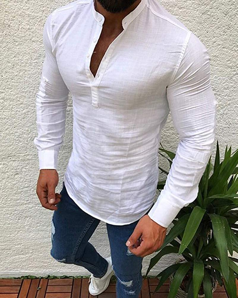 Tomwell Homme Chemise Col V Shirt Manches Longues Slim Fit Tops Mode Casual Plage Confortable Respirant