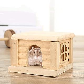 Ponacat ハムスター ケージ ハムスターハウス 木製 ペットの住宅 小動物用ケージ内装 木製小屋 巣 寝床 遊び場 おもちゃ 繁殖ケージ 小さな動物小屋 小動物用