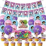 Decoración de cumpleaños de Dora the Explorer para decoración de tarta de Dora the Explorer Ballons Banner suministros de fiesta (46 unidades, Dora)