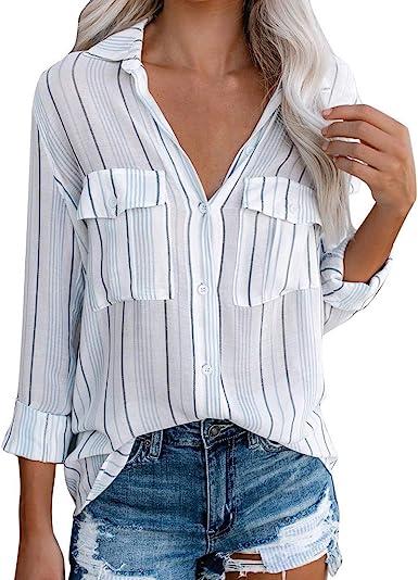 Amlaiworld Camisas Rayas Mujer,Camisa Casual de Mujer con ...