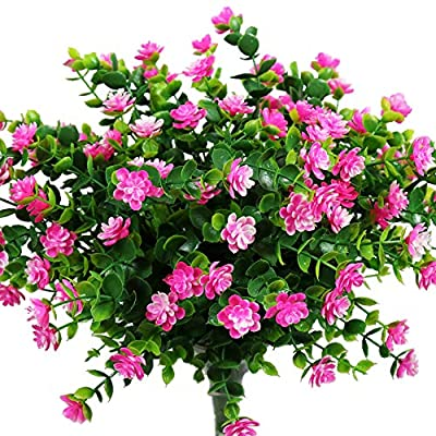 YOSICHY Artificial Flowers, Fake Outdoor UV Resistant Plants Faux Plastic Greenery Shrubs for Outside Hanging Planter Home Kitchen Office Wedding Garden Decor(Pink)
