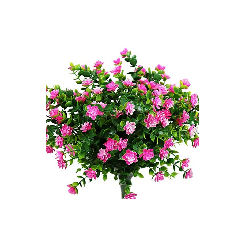 silk flower arrangements yosichy artificial flowers, fake outdoor uv resistant plants faux plastic greenery shrubs for outside hanging planter home kitchen office wedding garden decor(pink)