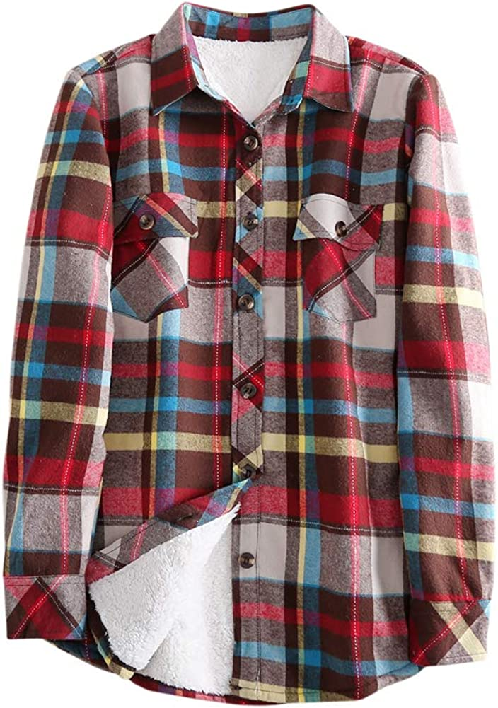 Tortor 1Bacha Women's Sherpa Lined Flannel Discount mail order Plaid Ja Winter Surprise price Shirt