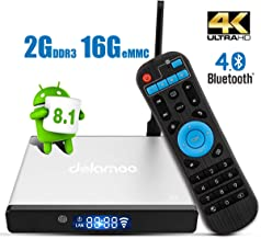 Android TV Box, Dolamee D7 Android 8.1 4K Smart TV Box Amlogic S905 Quad Core 2GB RAM 16GB ROM Media Player Support 3D Bluetooth 4.0 WiFi HDMI for Home Entertainment