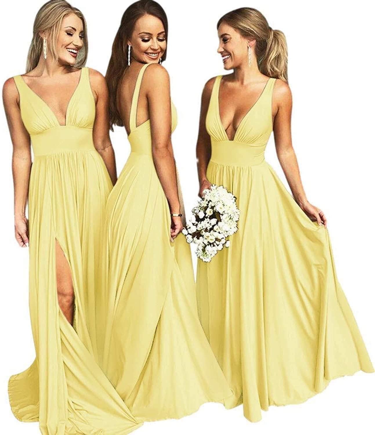 Karever Bridesmaid Dress Satin Long Prom Dress Backless Deep V Neck Formal Evening Gown with Split
