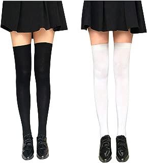 Kaariss Women Cotton Knit Over the Knee Socks Crochet Thigh High Stockings Dresses Cosplay Socks Leg Warmers Leggings