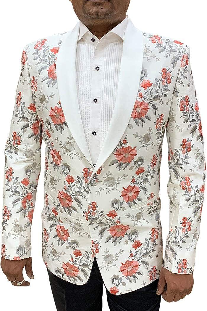 INMONARCH Mens Shawl Collar Embroidered White Blazer Sport Jacket Coat SBM1060XL52 52 X-Long White