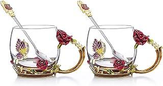 COAWG Taza de Té de Cristal Transparente, Taza de Té de Vidrio Rosa Roja Tazas de Cafe Tazas de Viaje con Manija Elaborada de la Flor y Hermosa 11oz-2Pcs