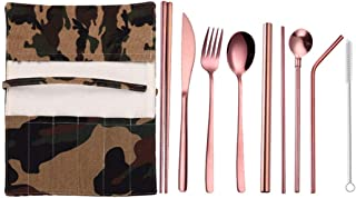 New 9 Pcs/Set Portable Stainless Steel Cutlery Set Knife Fork Spoon Straw With Cloth Pack Kitchen Dinnerware Tableware Kit T3
