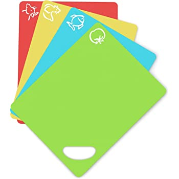 Cooler Kitchen Extra Thick Flexible Plastic Cutting Board Mats with Holes for Hanging and Food Icons & EZ-Grip Waffle Back, (Set of 4) Dishwasher Safe