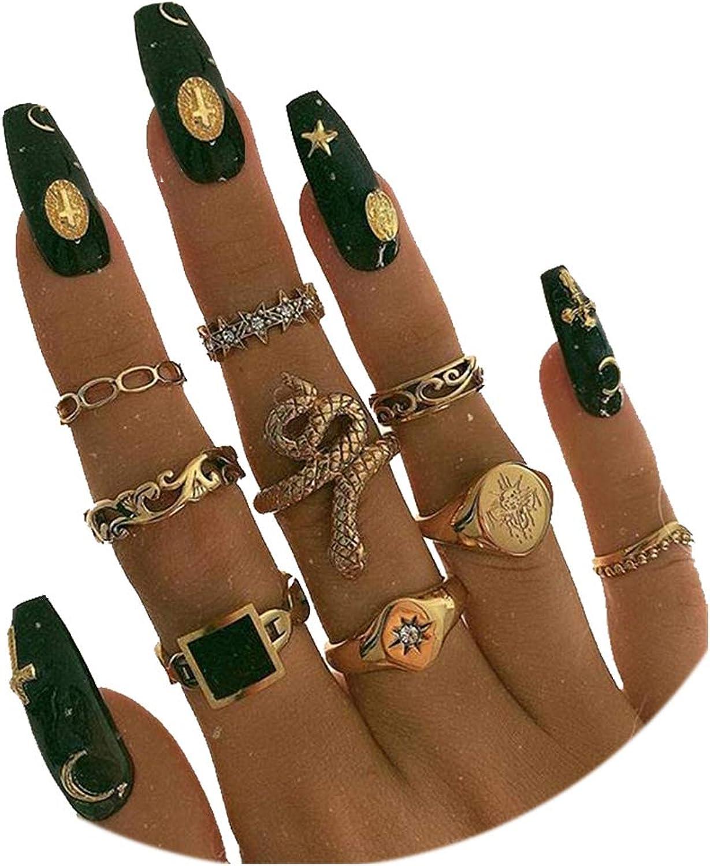 Snake Knuckle Stacking Ring Set Boho Vintage Gold Stackable Midi Finger Rings for Women Teen Girls