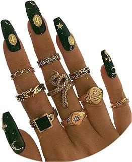 9PCS Knuckle Stacking Ring Set Snake Ring Set for Women Teen Girls Boho Vintage