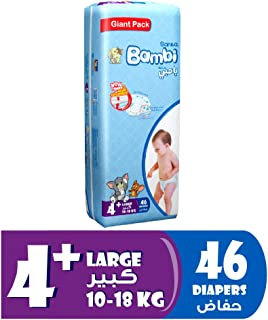 Sanita Bambi Baby Diapers Giant Pack Size 4+, Large plus, 10-18 KG, 46 Count