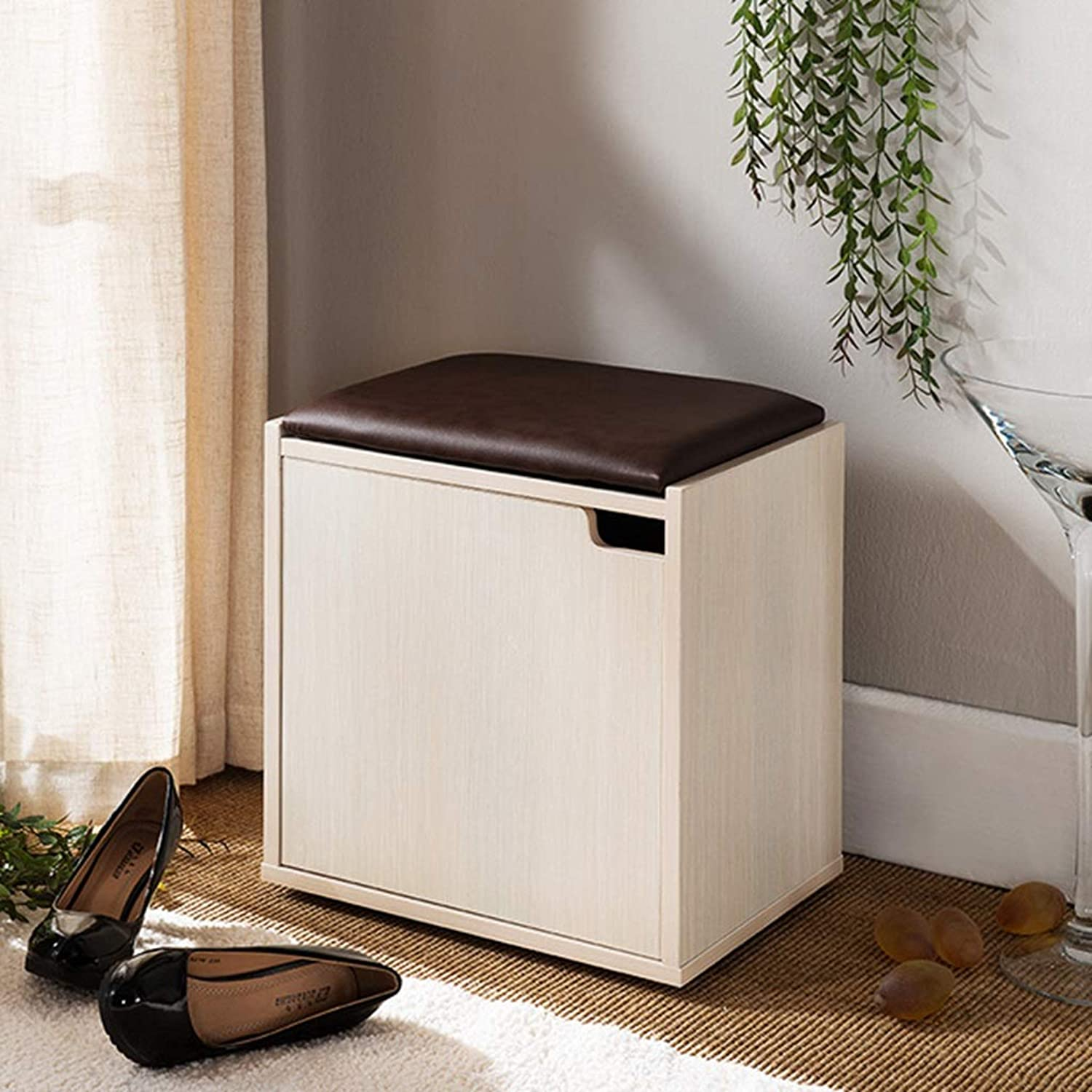 Entryway shoes Rack Bench Solid Wood Small shoes Cabinet Modern Simplicity shoes Storage Bench with Cushion for Hallway,Bedroom, Etc (color   Beige)