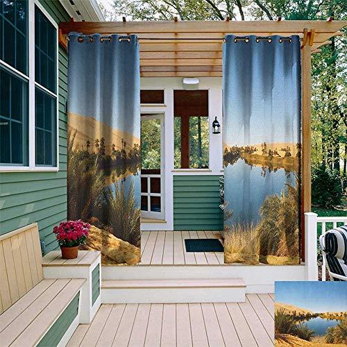 leinuoyi Desert, Outdoor Curtain Pair, Idyllic Oasis Awbari Sand Sea Sahara Libya Pond Lush Arid Country, Outdoor Curtain for Gazebo W84 x L108 Inch Pale Blue Green Sand Brown