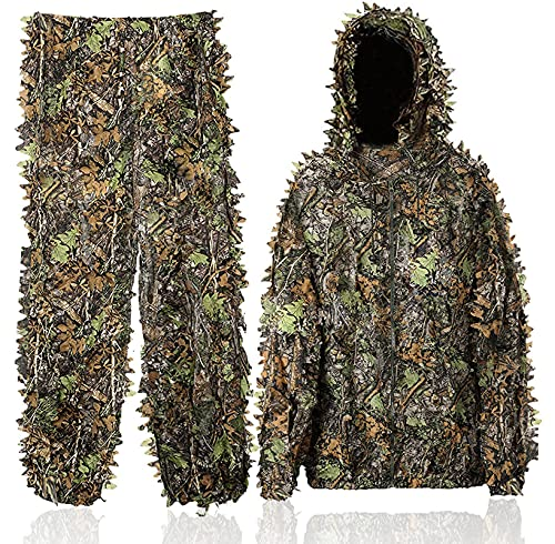 Favuit Ghillie Suit 3D Leafy Lightweight Breathable Outdoor Woodland Hunting Camouflage Clothing Camo Outfit for Jungle Hunting, Military, Wildlife Photography, Halloween (Large)