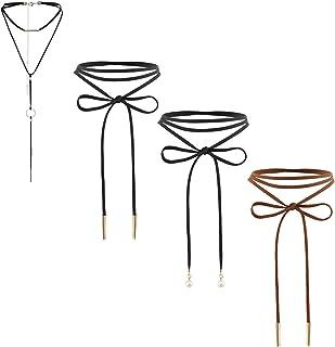 Assorted Style 4 pcs Womens Gothic Black Leather Velvet Long Choker Collar Chain Tassle Wrap Necklace