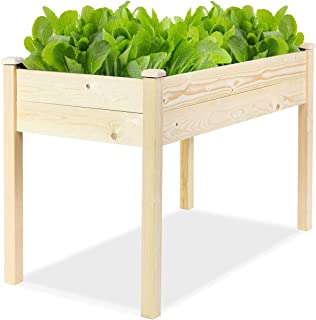 Giantex Raised Garden Bed Kit Elevated Planter Box for Vegetables Fruits Herb Grow, Heavy Duty Natural Cedar Wood Frame Gardening Planting Bed for Deck Patio Yard, No-Bolt Assembly, 49.5