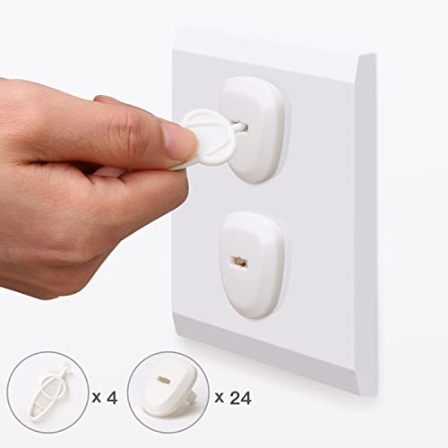 1a94f037aad148 Baby Proofing Electrical Outlet Plug Covers BALFER Electric Socket  Protector Caps Kit Anti-loose Safety Design (24 Covers + 4 Keys