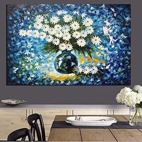 wZUN Arte Abstracto Flor Blanca con jarrón Pintura al óleo sobre Lienzo decoración del hogar 90x60 Sin Marco